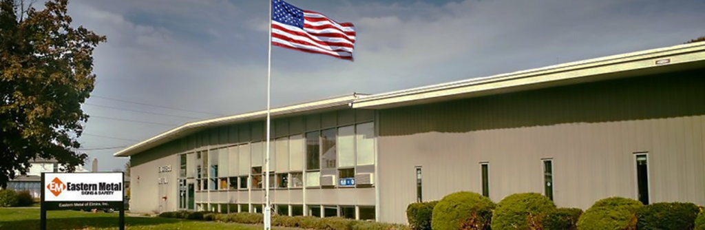 Eastern Metal Signs & Safety headquarters with American flag