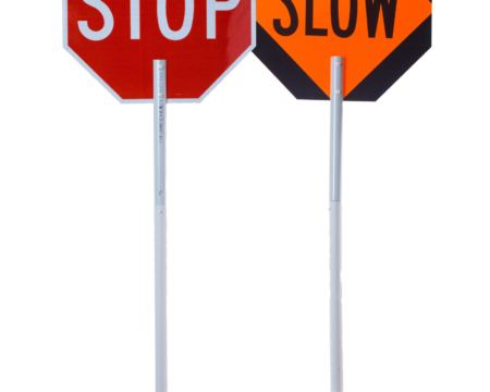 pole signs, stop slow signs, stop sign pole, handheld stop sign, crossing guard, flagger sign, flagger supplies, mutcd stop signs