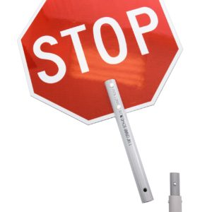 stop sign, hand, extended handle, stop slow paddle, flagger paddle, flagger sign, stop slow, stop/slow, crossing guard, traffic control paddle