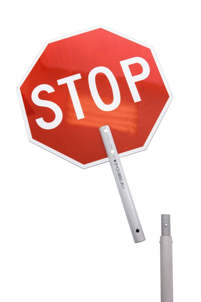 stop sign, hand, extended handle