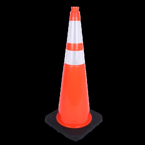 long orange white stripe cone with black base