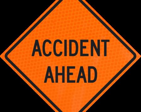 accident ahead orange diamond grade roll up