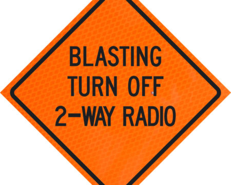 blasting turn off 2-way radio orange diamond grade roll up