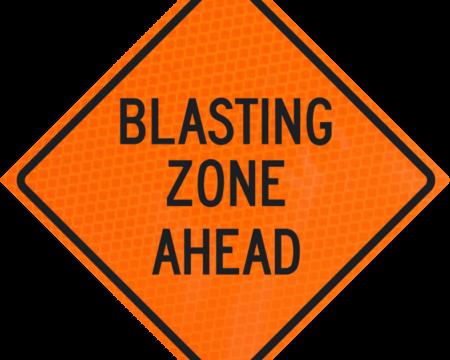 blasting zone ahead orange diamond grade roll up