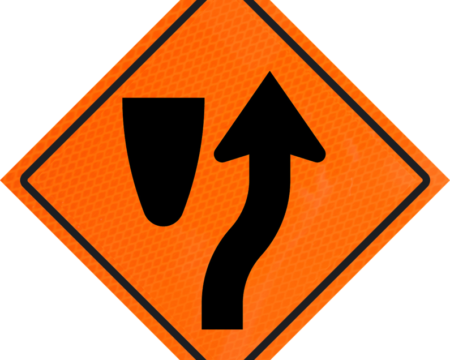 merge orange vinyl roll up sign