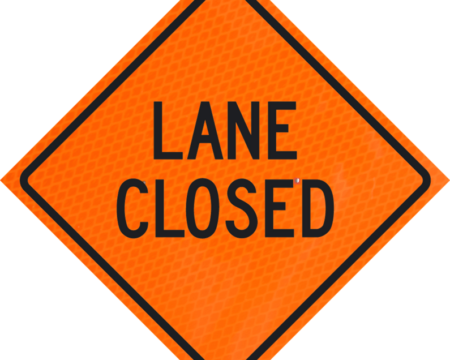lane closed orange diamond grade roll up