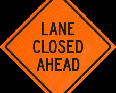 lane closed ahead orange diamond grade roll up