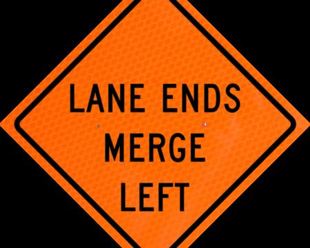 lane ends merge left orange diamond grade roll up