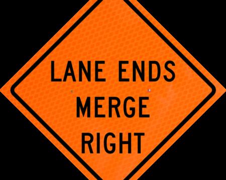 lane ends merge right orange diamond grade roll up