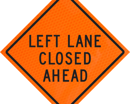 left lane closed ahead roll up sign