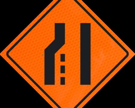 merge on left lane orange diamond grade roll up