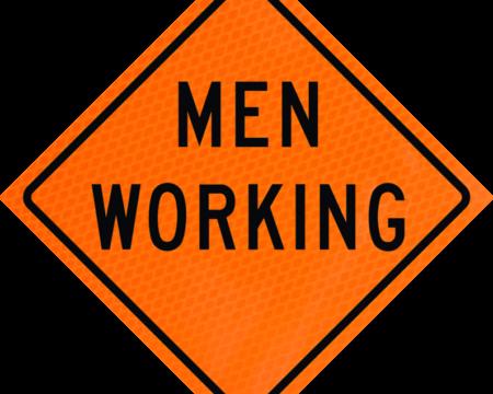 men working orange diamond grade roll up