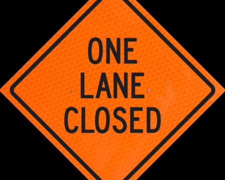 one lane closed orange diamond grade roll up