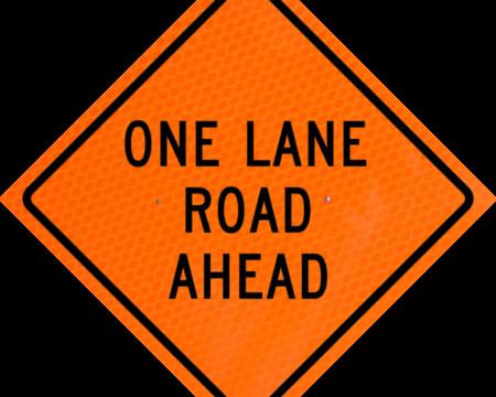 one lane road ahead orange diamond grade roll up