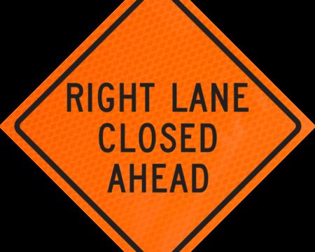right lane closed ahead orange diamond grade roll up
