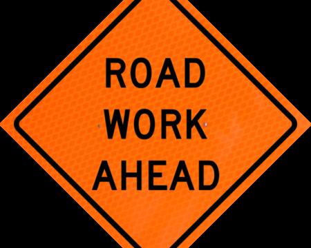 road work ahead orange diamond grade roll up