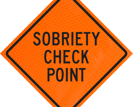 sobriety check point words orange diamond grade roll up
