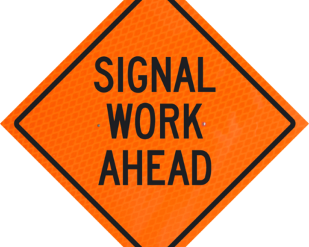 signal work ahead orange diamond grade roll up