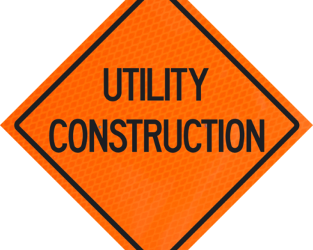 utility construction orange diamond grade roll up