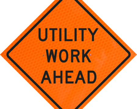 utility work ahead roll up vinyl sign