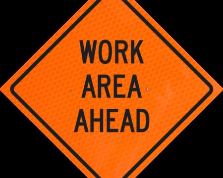 work area ahead orange diamond grade roll up