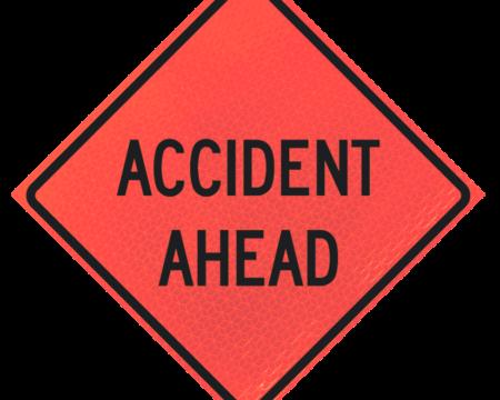 accident ahead words sign deep orange diamond roll up