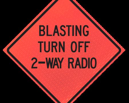 blasting turn off two way radio words sign deep orange diamond roll up