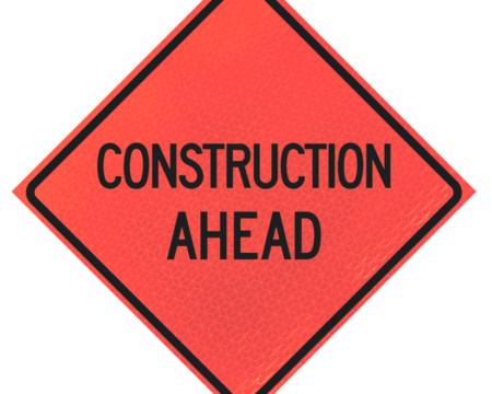 construction ahead sign deep orange diamond roll up