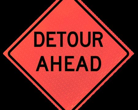 detour ahead deep orange diamond roll up