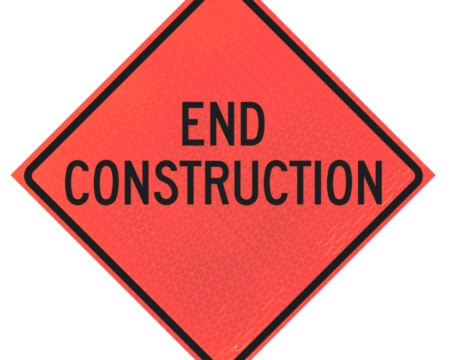 end construction deep orange diamond roll up