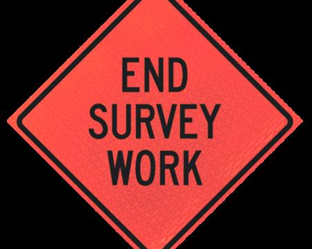 end survey work deep orange diamond roll up