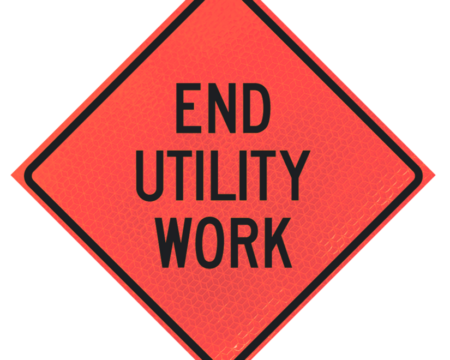 end utility work words deep orange diamond roll up