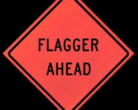 flagger ahead deep orange diamond roll up