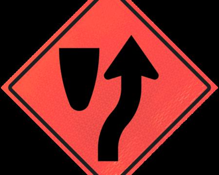 right orange vinyl roll up sign