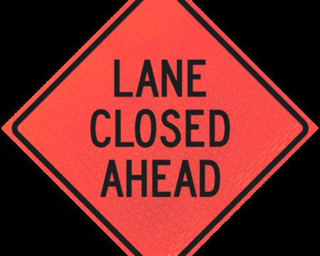lane closed ahead deep orange diamond roll up