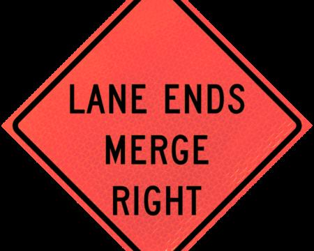 lane ends merge right deep orange diamond roll up