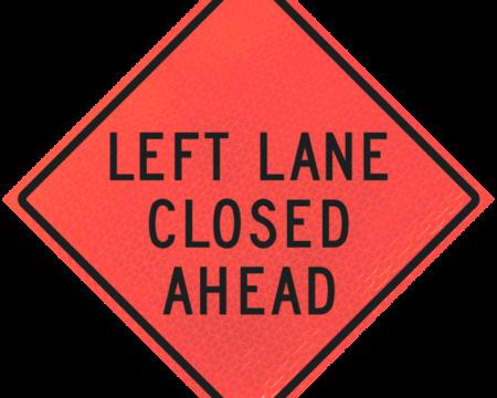 left lane closed ahead deep orange diamond roll up