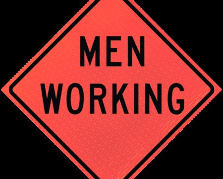 men working words sign deep orange diamond roll up