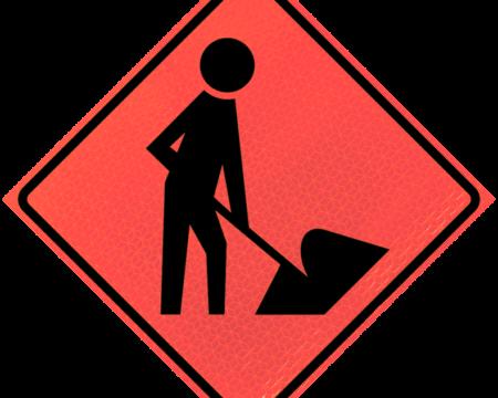 worker symbol deep orange diamond roll up