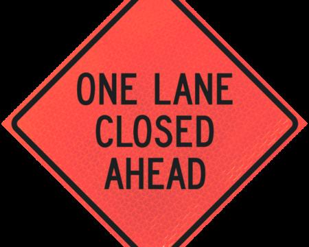 one lane closed ahead deep orange diamond roll up