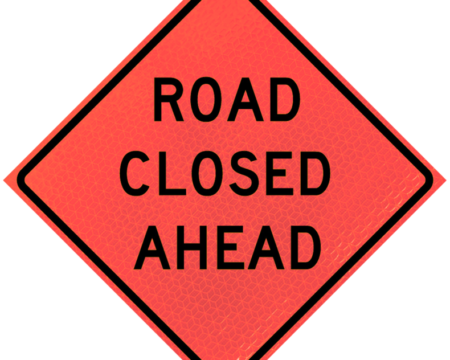 road closed ahead orange roll up sign