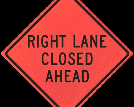 right lane closed ahead deep orange diamond roll up