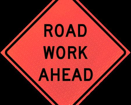 road work ahead deep orange diamond roll up