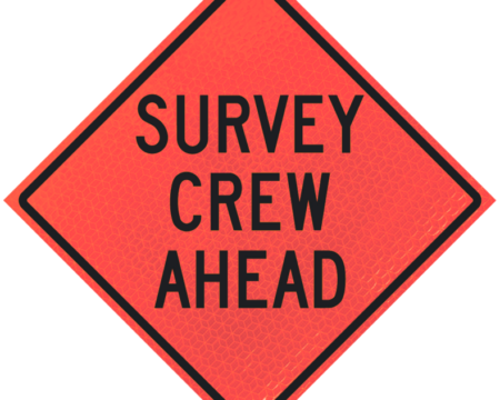 survey crew ahead deep orange diamond roll up