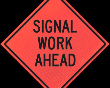 signal work ahead deep orange diamond roll up
