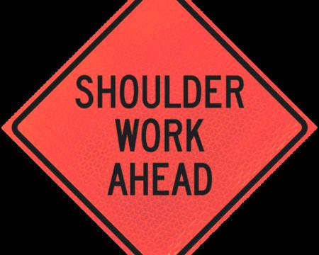 shoulder work ahead deep orange diamond roll up
