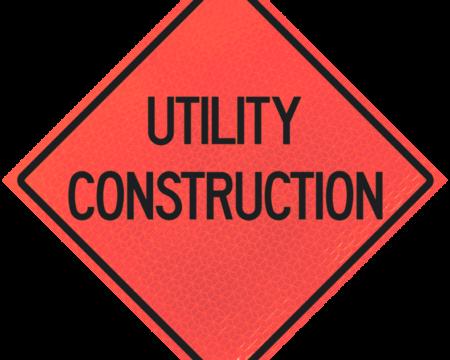utility construction deep orange diamond roll up