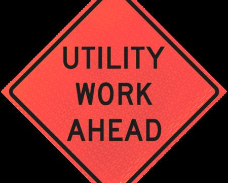 utility work ahead deep orange diamond roll up