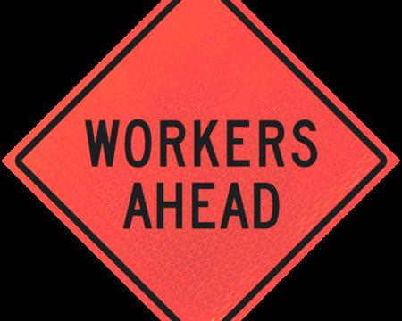 workers ahead deep orange diamond roll up