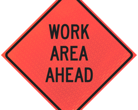 work area ahead deep orange diamond roll up
